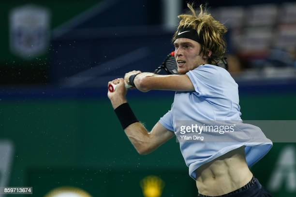 Andrey Rublev of Russia returns a shot during the Men's singles mach against JuanMartin Del Potro of Argentina on day 3 of Shanghai Rolex Masters at...