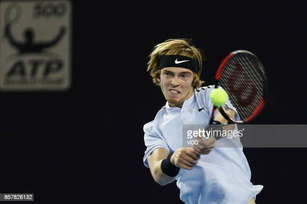 Andrey Rublev of Russia returns a shot during the Men's singles second round match against Tomas Berdych of the Czech Republic on day six of the 2017...