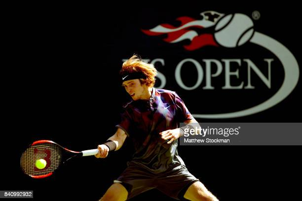 Andrey Rublev of Russia returns a shot to Aljaz Bedene of Great Britain during their first round Men's Singles match on Day Three of the 2017 US Open...