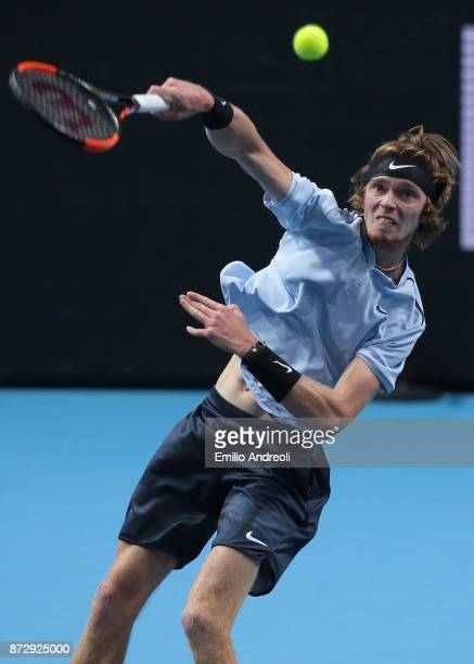 Andrey Rublev of Russia returns the ball in his match against Hyeon Chung of South Korea during the mens final on day 5 of the Next Gen ATP Finals on...