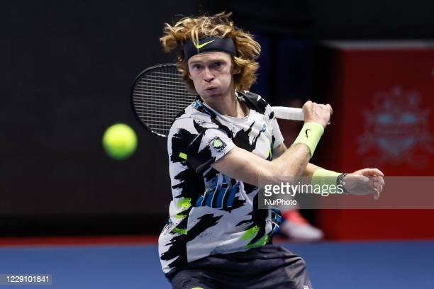 Andrey Rublev of Russia returns the ball to Cameron Norrie of United States during their ATP St Petersburg Open 2020 international tennis tournament...