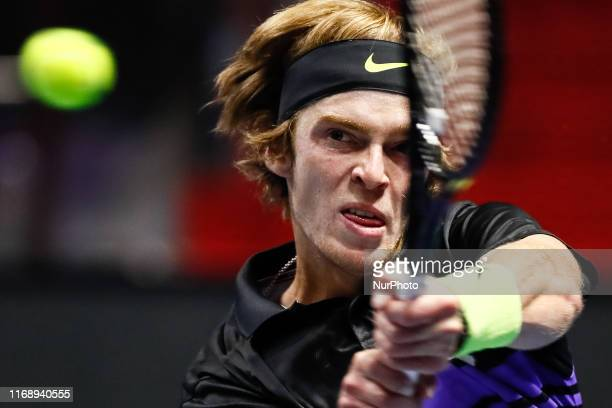 Andrey Rublev of Russia returns the ball to Ilya Ivashka of Belarus during their ATP St. Petersburg Open 2019 tennis match on September 17, 2019 at...