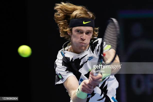 Andrey Rublev of Russia returns the ball to Ugo Humbert of France during their ATP St. Petersburg Open 2020 international tennis tournament match on...