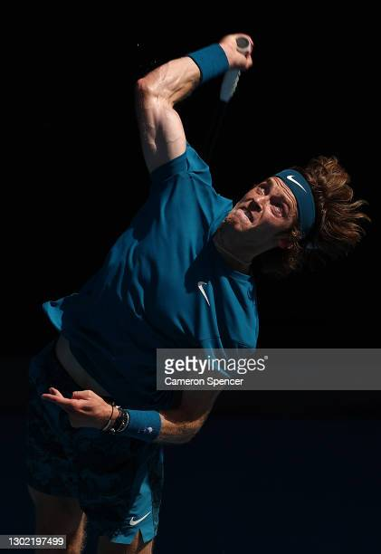 Andrey Rublev of Russia serves in his Men's Singles fourth round match against Casper Ruud of Norway during day eight of the 2021 Australian Open at...