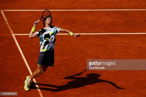 Andrey Rublev of Russia serves in his round one match against Facundo Bagnis of Argentina during day two of the Internazionali BNL d'Italia at Foro...