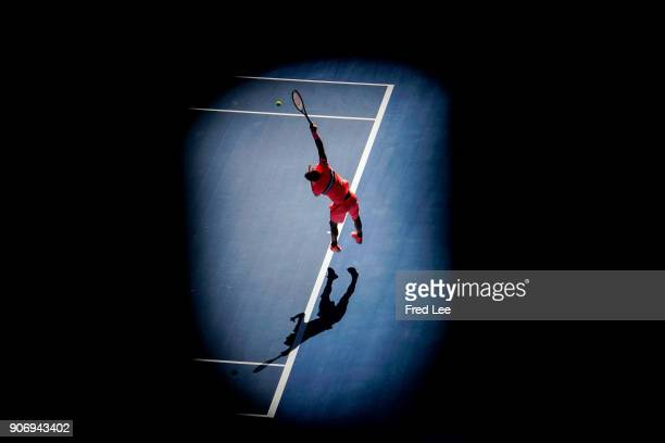 Andrey Rublev of Russia serves in his third round match against Grigor Dimitrov of Bulgaria on day five of the 2018 Australian Open at Melbourne Park...
