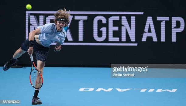 Andrey Rublev of Russia serves the ball in his match against Hyeon Chung of South Korea during the mens final on day 5 of the Next Gen ATP Finals on...