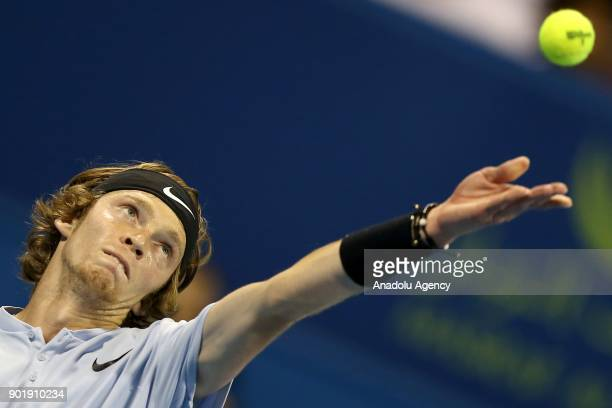 Andrey Rublev of Russia serves the ball to Gael Monfils of France during the Qatar ExxonMobil Open 2018 Tennis Tournament Men's Final match organised...