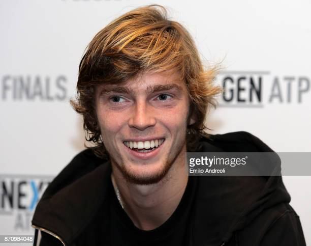 Andrey Rublev of Russia smiles during the Next Gen ATP Finals Media Day on November 6 2017 in Milan Italy