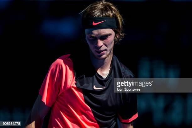 Andrey Rublev of Russia walks back to his players bench in his third round match during the 2018 Australian Open on January 19 at Melbourne Park...