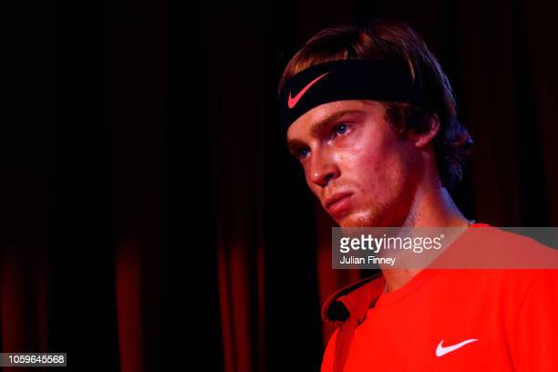 Andrey Rublev of Russia walks out to play in his semi final match against Stefanos Tsitsipas of Greece during Day Four of the Next Gen ATP Finals at...