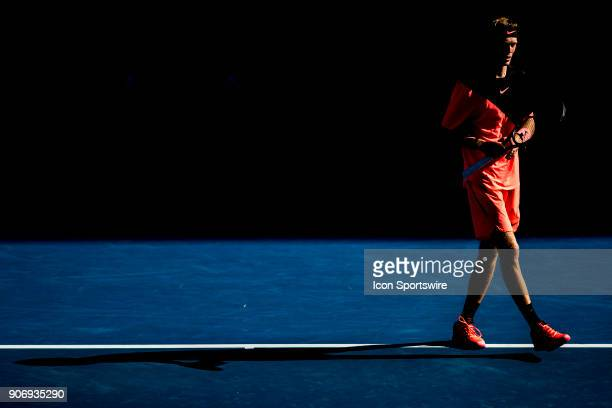 Andrey Rublev of Russia walks to his players bench in his third round match during the 2018 Australian Open on January 19 at Melbourne Park Tennis...