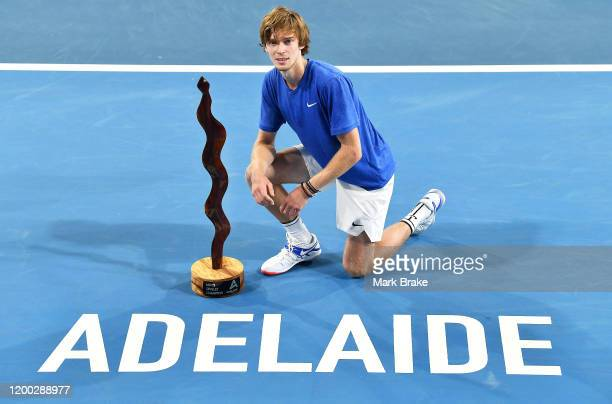 ADELAIDE AUSTRALIA JANUARY 18' Andrey Rublev of Russia with the Adelaide Mens Singles Champion trophy after defeating Lloyd Harris of South Africa...