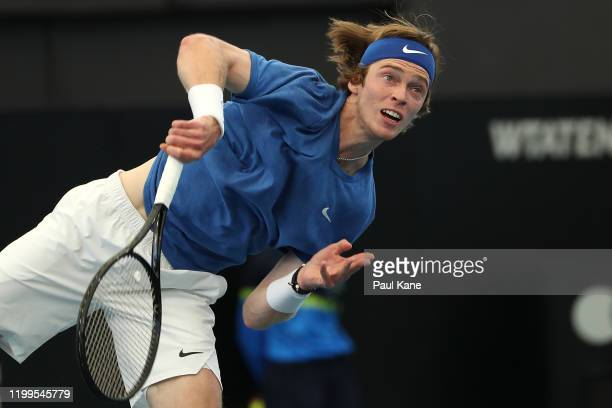 Andrey Rublev of Russias serves to Sam Querry of the USA during day four of the 2020 Adelaide International at Memorial Drive on January 15 2020 in...