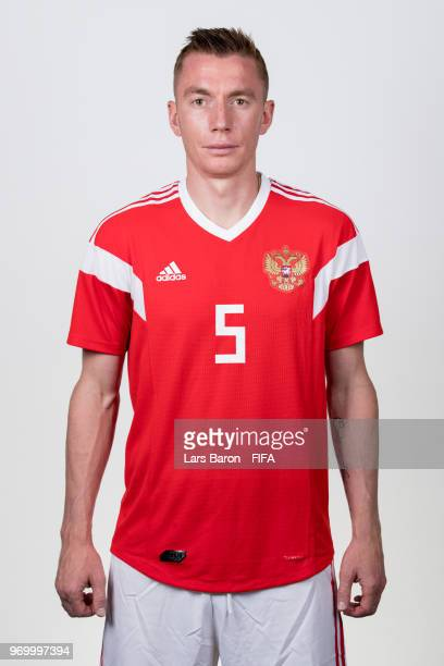 Andrey Semenov of Russia poses for a portrait during the official FIFA World Cup 2018 portrait session at Federal Sports Centre Novogorsk on June 8...