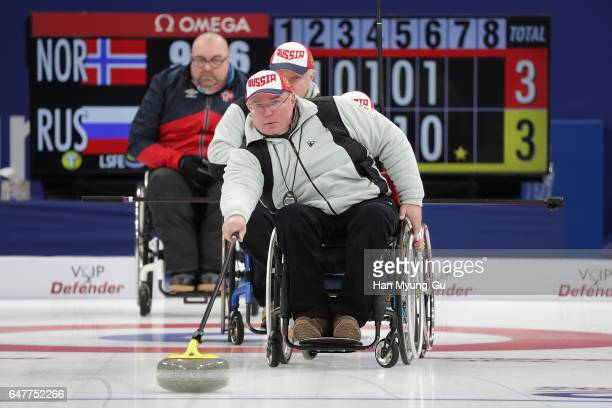 Andrey Smirnov from Russia delivers a stone during the World Wheelchair Curling Championship 2017 - test event for PyeongChang 2018 Winter Olympic...