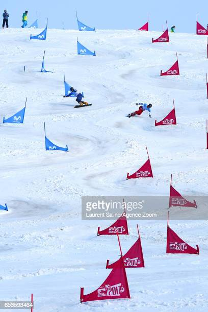 Andrey Sobolev of Russia wins the bronze medal, Nevin Galmarini of Switzerland competes during the FIS Freestyle Ski & Snowboard World Championships...