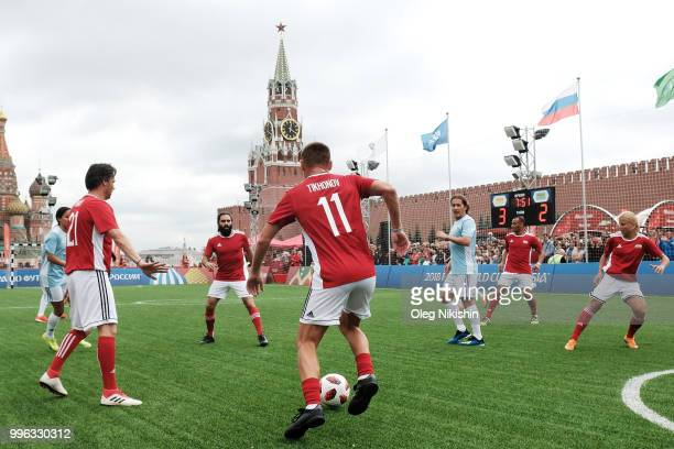 Andrey Tikhonov and Alexey Smertin in action during the Legends Football Match in 'The park of Soccer and rest' at Red Square on July 11 2018 in...