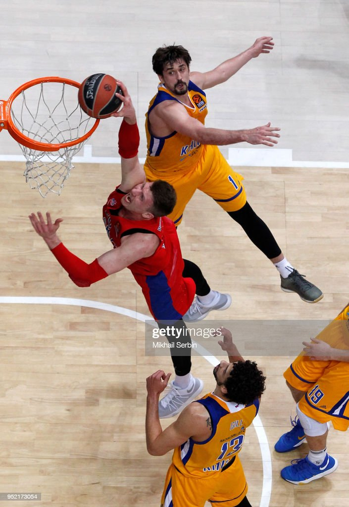 Andrey Vorontsevich, #20 of CSKA Moscow competes with Alexey Shved, #1 of Khimki Moscow Region in action during the Turkish Airlines Euroleague Play Offs Game 4 between Khimki Moscow Region v CSKA Moscow at Arena Mytishchi on April 27, 2018 in Moscow, Russia.