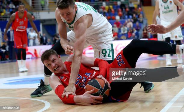 Andrey Vorontsevich #20 of CSKA Moscow competes with Edgaras Ulanovas #92 of Zalgiris Kaunas in action during the 2017/2018 Turkish Airlines...