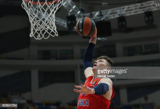 Andrey Vorontsevich #20 of CSKA Moscow dunks during the 2017/2018 Turkish Airlines EuroLeague Regular Season Round 23 game between CSKA Moscow and...