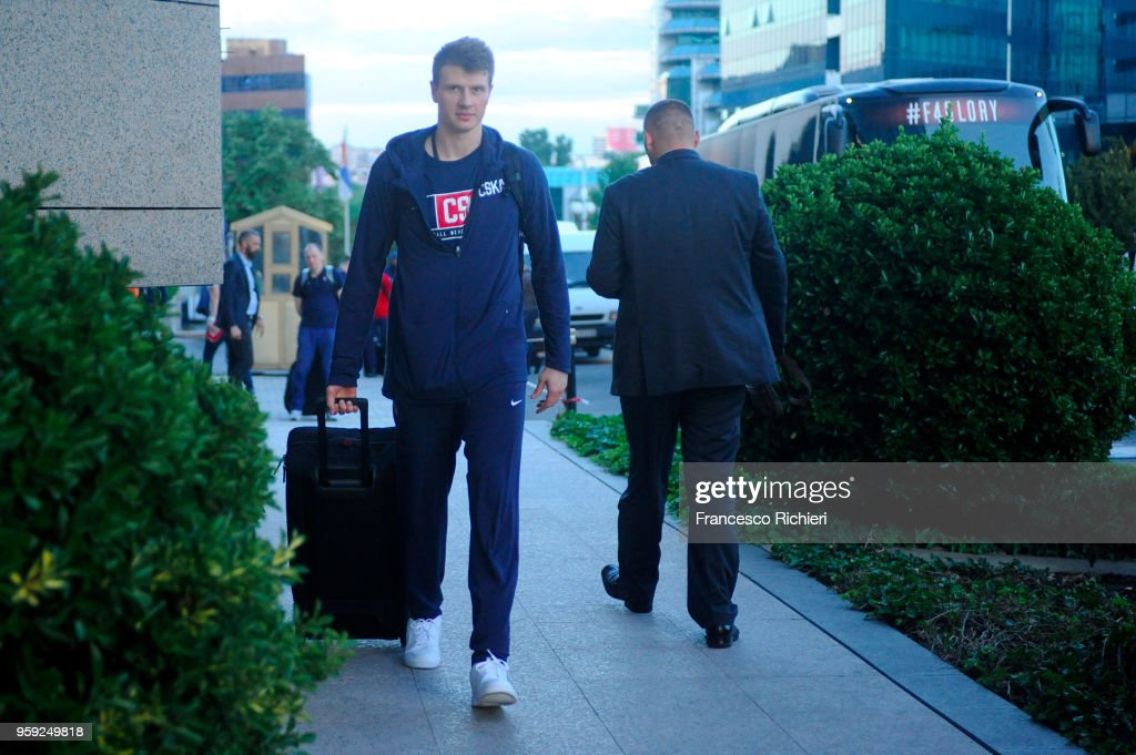 Andrey Vorontsevich, #20 of CSKA Moscow during the CSKA Moscow Arrival to participate of 2018 Turkish Airlines EuroLeague F4 at Hyatt Regency Hotel on May 16, 2018 in Belgrade, Serbia.
