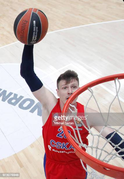 Andrey Vorontsevich #20 of CSKA Moscow in action during the 2017/2018 Turkish Airlines EuroLeague Regular Season Round 23 game between CSKA Moscow...