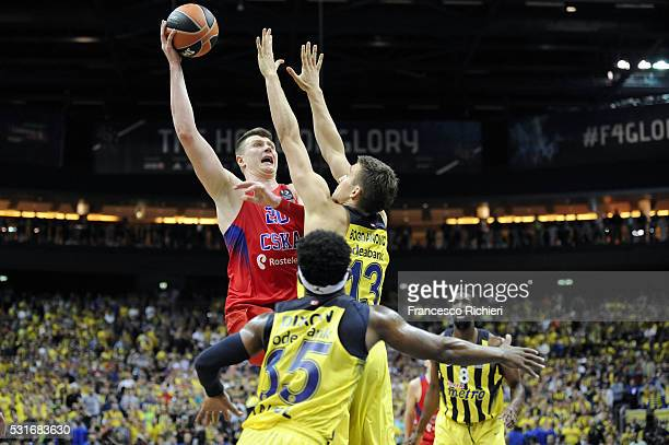 Andrey Vorontsevich #20 of CSKA Moscow in action during the Turkish Airlines Euroleague Basketball Final Four Berlin 2016 Championship game between...