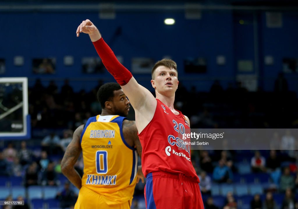 Andrey Vorontsevich, #20 of CSKA Moscow in action during the Turkish Airlines Euroleague Play Offs Game 4 between Khimki Moscow Region v CSKA Moscow at Arena Mytishchi on April 27, 2018 in Moscow, Russia.