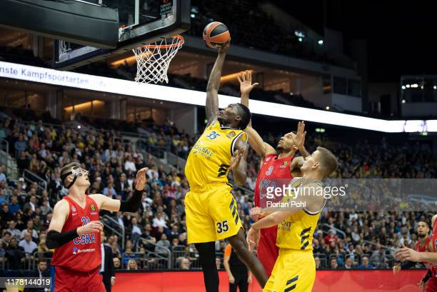 Andrey Vorontsevich of CSKA Moscow Landry Nnoko of Alba Berlin Joel Bolomboy of CSKA Moscow and Tim Schneider of Alba Berlin during the EuroLeague...