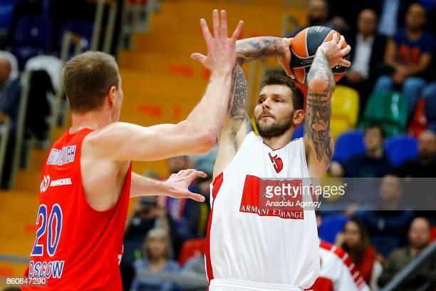 Andrey Vorontsevich of CSKA Moscow vies with Vladimir Micov of AX Olimpia Milan during the Turkish Airlines Euroleague match between CSKA Moscow and...
