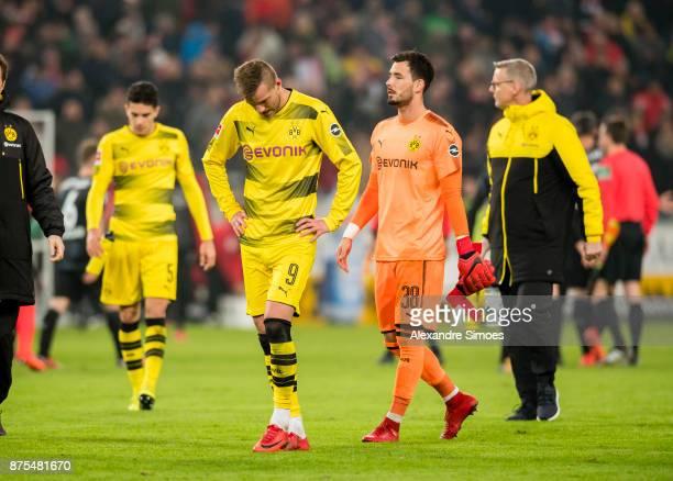 Andrey Yarmolenko and goal keeper Roman Buerki of Borussia Dortmund after the final whistle during the Bundesliga match between VfB Stuttgart and...