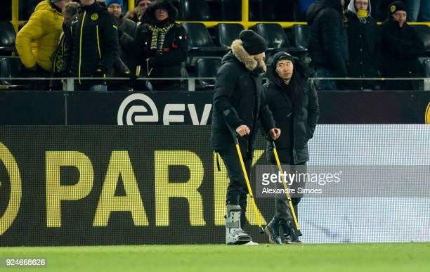 Andrey Yarmolenko and Shinji Kagawa of Borussia Dortmund after the final whistle during the Bundesliga match between Borussia Dortmund and FC...