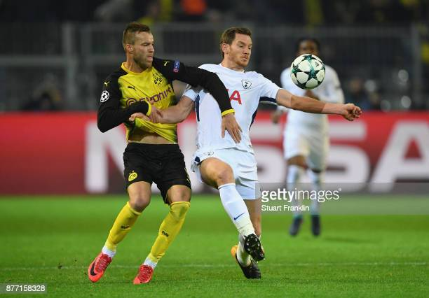 Andrey Yarmolenko of Borussia Dortmund and Jan Vertonghen of Tottenham Hotspur battle for possession during the UEFA Champions League group H match...