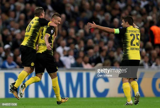 Andrey Yarmolenko of Borussia Dortmund celebrates scoring his sides first goal with his Borussia Dortmund team mates during the UEFA Champions League...