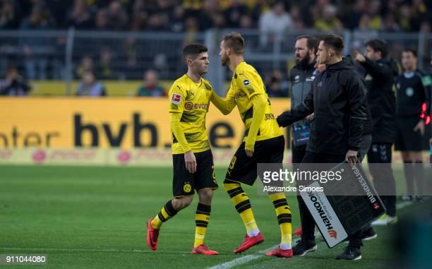 Andrey Yarmolenko of Borussia Dortmund gets substituted for Christian Pulisic during the Bundesliga match between Borussia Dortmund and SportClub...