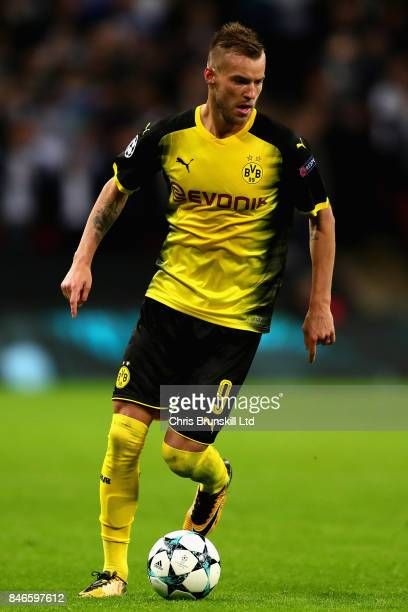 Andrey Yarmolenko of Borussia Dortmund in action during the UEFA Champions League group H match between Tottenham Hotspur and Borussia Dortmund at...