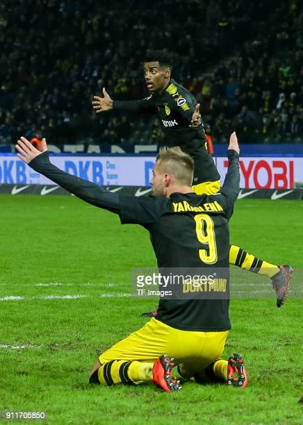 Andrey Yarmolenko of Dortmund and Alexander Isak of Dortmund gesture during the Bundesliga match between Hertha BSC and Borussia Dortmund at...