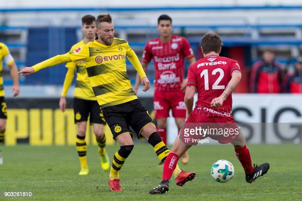 Andrey Yarmolenko of Dortmund and Damien Marcq battle for the ball during the Friendly match between Borussia Dortmund and SV Zulte Waregem at...