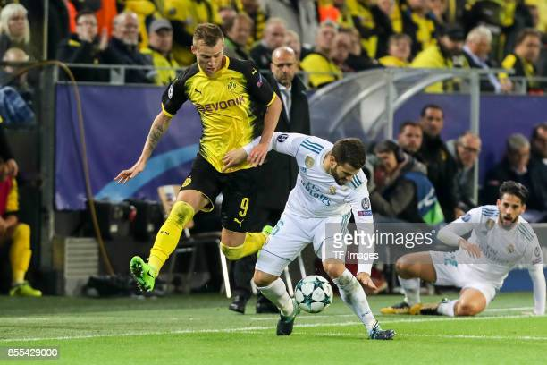 Andrey Yarmolenko of Dortmund and Nacho of Real Madrid battle for the ball during the UEFA Champions League group H match between Borussia Dortmund...
