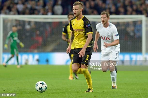 Andrey Yarmolenko of Dortmund controls the ball during the UEFA Champions League group H match between Tottenham Hotspur and Borussia Dortmund at...