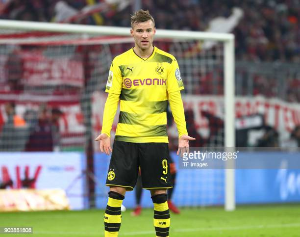 Andrey Yarmolenko of Dortmund gestures during the DFB Cup match between Bayern Muenchen and Borussia Dortmund at Allianz Arena on December 20 2017 in...