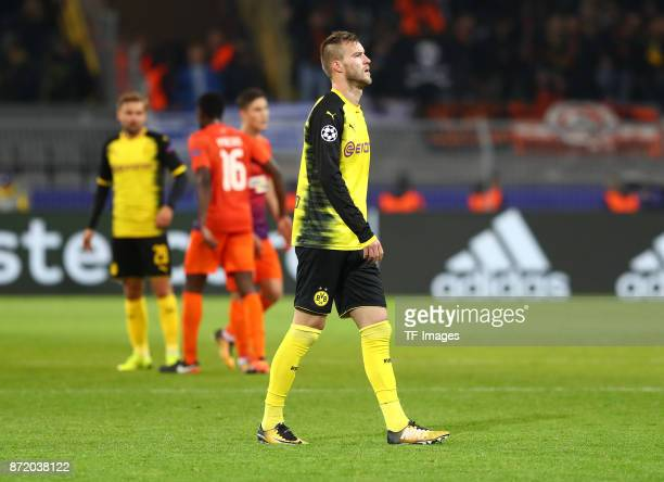 Andrey Yarmolenko of Dortmund looks dejected after the UEFA Champions League Group H soccer match between Borussia Dortmund and APOEL Nicosia at...