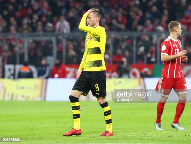 Andrey Yarmolenko of Dortmund looks dejected during the DFB Cup match between Bayern Muenchen and Borussia Dortmund at Allianz Arena on December 20...