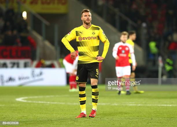 Andrey Yarmolenko of Dortmund looks on after the Bundesliga match between 1 FSV Mainz 05 and Borussia Dortmund at Opel Arena on December 12 2017 in...