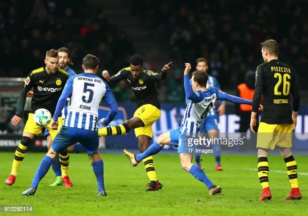 Andrey Yarmolenko of Dortmund Niklas Stark of Hertha Alexander Isak of Dortmund Vladimir Darida of Hertha and Lukasz Piszczek of Dortmund battle for...
