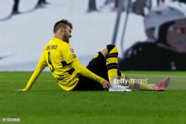 Andrey Yarmolenko of Dortmund on the ground during the Bundesliga match between Borussia Dortmund and SportClub Freiburg at Signal Iduna Park on...