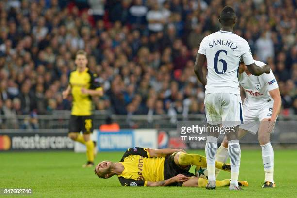 Andrey Yarmolenko of Dortmund on the ground during the UEFA Champions League group H match between Tottenham Hotspur and Borussia Dortmund at Wembley...