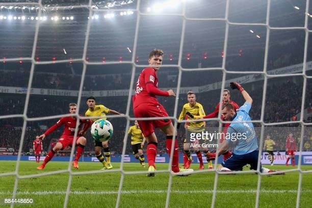 Andrey Yarmolenko of Dortmund scores his team's first goal during the Bundesliga match between Bayer 04 Leverkusen and Borussia Dortmund at BayArena...