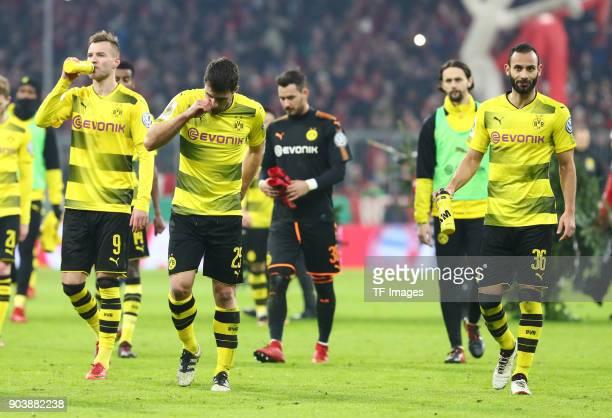 Andrey Yarmolenko of Dortmund Sokratis Papastathopoulos of Dortmund Goalkeeper Roman Buerki of Dortmund Neven Subotic of Dortmund and Oemer Toprak of...